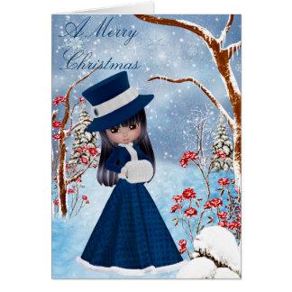 Brunette Girl, Snow , Christmas Greeting Card