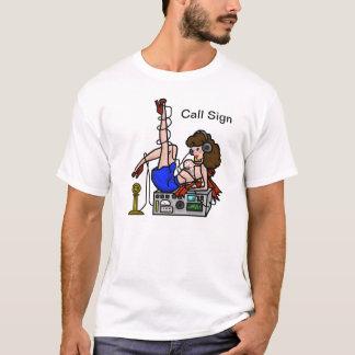 Brunette Ham Radio Pin-up Girl Tshirt Customize It