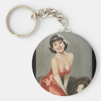 Brunette in a Red Formal Pin Up Art Basic Round Button Key Ring