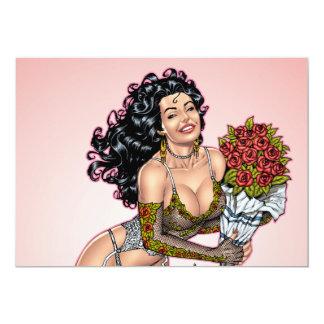 "Brunette in Lingerie with Roses Illustration 5"" X 7"" Invitation Card"