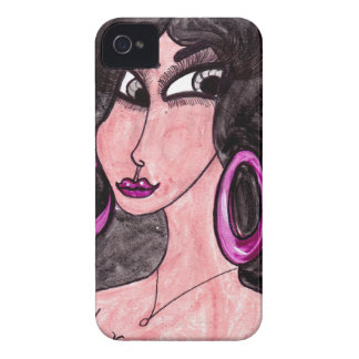 Brunette in Purple iPhone 4 Case-Mate Case