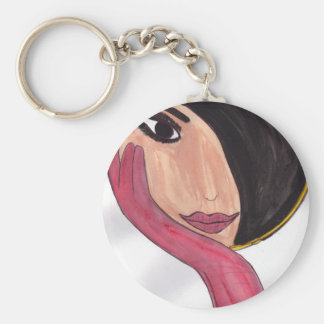 Brunette in the Mirror Basic Round Button Key Ring