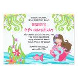 Brunette Mermaid Birthday Invitations