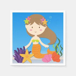Brunette Mermaid Birthday Paper Napkins