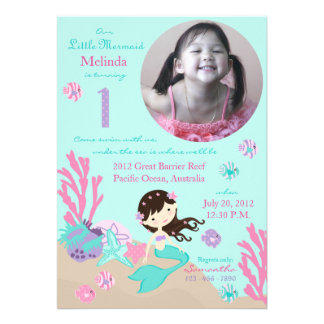 Brunette Mermaid First Birthday Card
