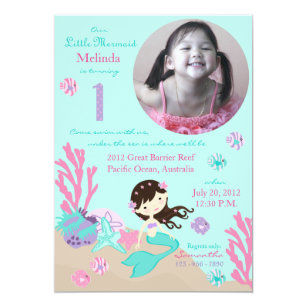 Brunette Mermaid First Birthday Invitation