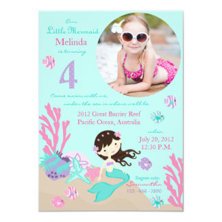 Brunette Mermaid Fourth Birthday Invitation