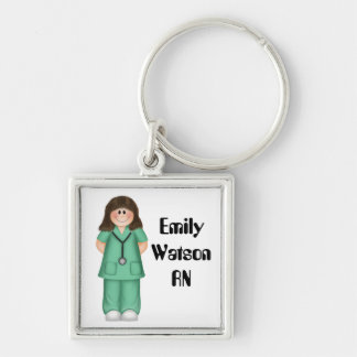 Brunette Personalized Nurse Silver-Colored Square Key Ring