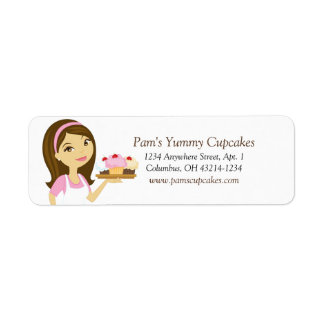 Brunette/Pink Cupcake Baker Return Address Labels