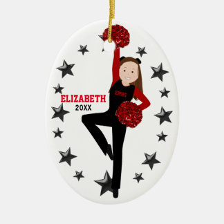 Brunette Pom Squad in Black & Red Ceramic Ornament