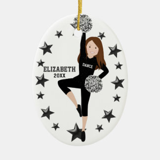 Brunette Pom Squad Silver & Black Ceramic Ornament