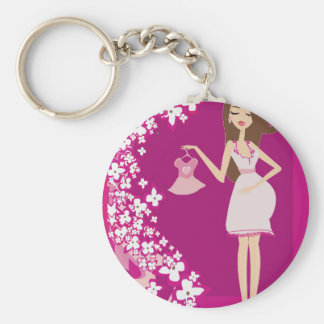 brunette pregnant woman basic round button key ring