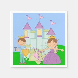 Brunette Prince and Princess Paper Napkins Disposable Napkin