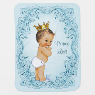 Brunette Prince Blue Leaves Personalized Baby Blanket