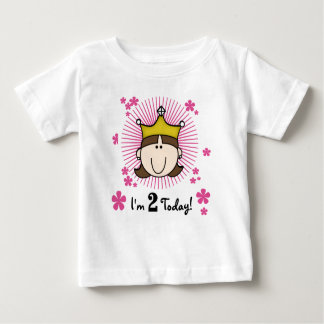 Brunette Princess 2nd Birthday Baby T-Shirt