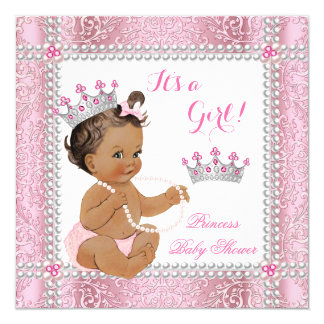 Brunette Princess Baby Shower Girl Pink Pearl Lace Card
