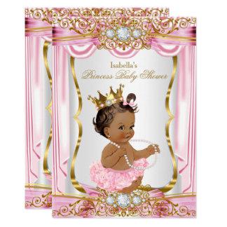 Brunette Princess Baby Shower Pink Silk Gold 13 Cm X 18 Cm Invitation Card