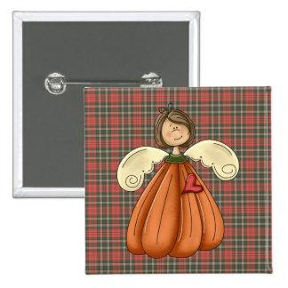 brunette pumpkin angel 15 cm square badge