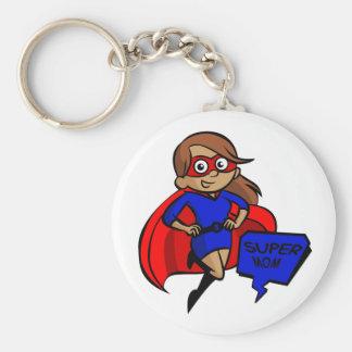 brunette super mom key ring