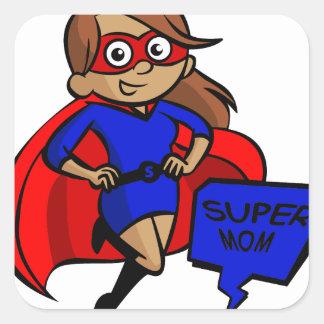 brunette super mom square sticker