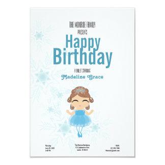 "brunette winter BALLERINA birthday invitation 3.5"" X 5"" Invitation Card"
