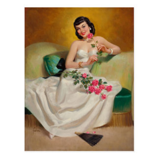 Brunette with Roses Postcard