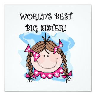 Brunette World's Best Big Sister Gifts Custom Invitations