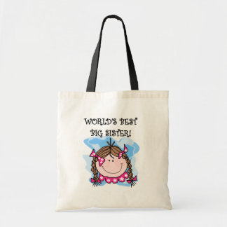 Brunette World's Best Big Sister Tshirts and Gifts Budget Tote Bag