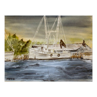 brunswick harbor marine nautical poster print