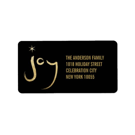 Brush Chic Gold Glitter Joy Holiday Address Labels
