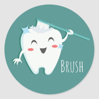Brush Dentist Glossy, Small, 1½ inch (sheet of 20) Classic Round Sticker
