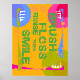 Brush Floss Rinse, then SMILE! Poster