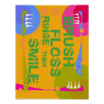Brush Floss Rinse, then SMILE! Posters