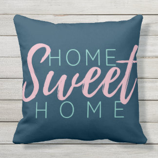 Brush Script in Pink Home Sweet Home+Family Name Outdoor Cushion