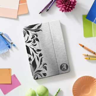 Brush SIlver and Black Floral iPad Pro Cover