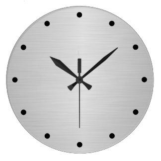 Brush SIlver Metallic Large Clock