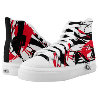 """Brush Strokes"" Red/Black Abstract Pattern Sneaker Printed Shoes"