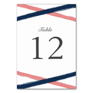 Brush Strokes Table Number Card | Navy Coral Table Cards