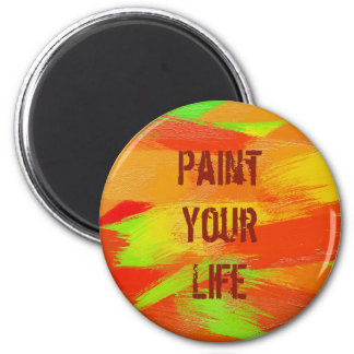 brush strokes texture. text 6 cm round magnet