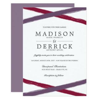 Brush Strokes Wedding Invitations   Lavender Berry
