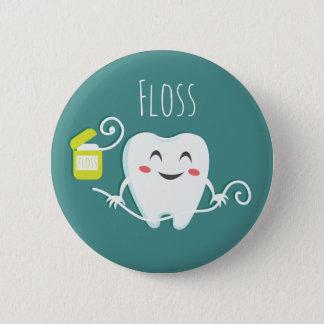 Brush Teeth Dentist Standard, 2¼ Inch Round Button