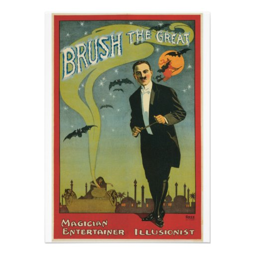 Brush the Great Vintage Magician Personalized Announcement