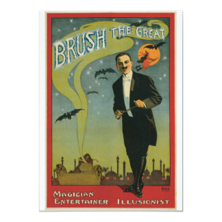"""Brush the Great Vintage Magician 5"""" X 7"""" Invitation Card"""