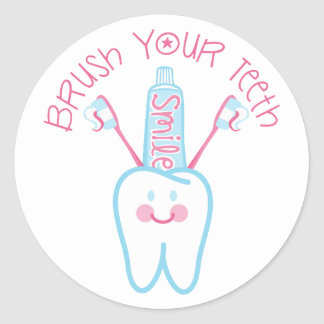 Brush Your Teeth Classic Round Sticker