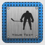 Brushed Aluminium look Hockey Square Sticker