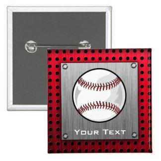 Brushed Aluminum look Baseball Buttons