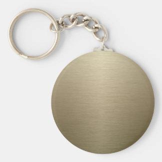 Brushed Bronze Basic Round Button Key Ring