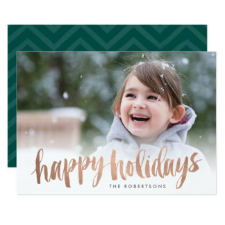 Brushed Copper Happy Holidays Photo Card