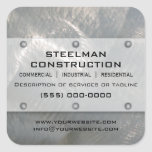 Brushed Faux Silver Metal-Look Promotional Square Stickers