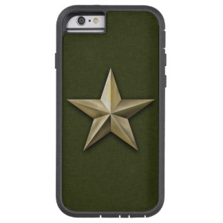 Brushed gold tone star on green texture tough xtreme iPhone 6 case